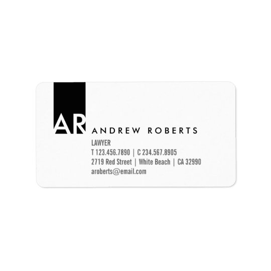 Monogram Black White Clean Business Info Labels