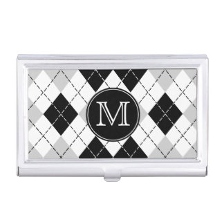 Monogram Black White Gray Argyle Businesscard Case