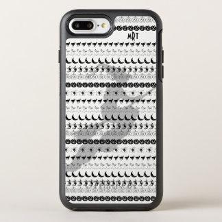 Monogram: Black/White Halloween Fun Font Art OtterBox Symmetry iPhone 8 Plus/7 Plus Case