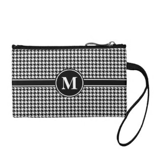 Monogram Black/White Houndstooth Change Purses