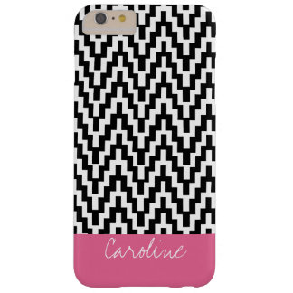 Monogram Black White Ikat Chevron Zig Zag Pattern Barely There iPhone 6 Plus Case