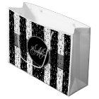 Monogram Black & White Musical Stripes Large Bag