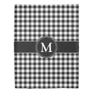 Monogram Black & White Pattern Checked Gingham Duvet Cover