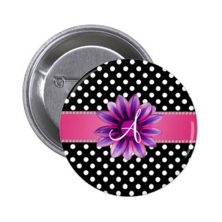 Monogram black white polka dots pink daisy 2 inch round button