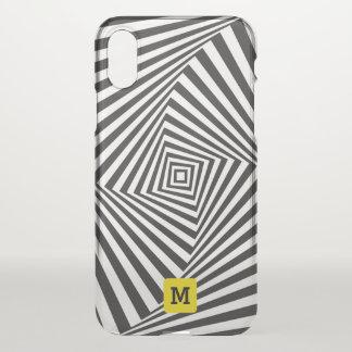 Monogram. Black & White Swirl Optical Illusion. iPhone X Case