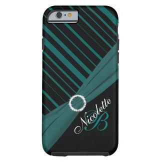 Monogram Black White Teal Striped iPhone 6 case