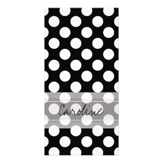 Monogram Black White Trendy Fun Polka Dot Pattern Picture Card