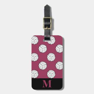 Monogram Black White Volleyball Balls Sangria Pink Luggage Tag