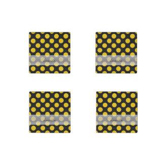 Monogram Black Yellow Chic Polka Dot Pattern Stone Magnets