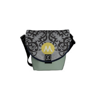 Monogram Black Yellow Vintage Floral Pattern Messenger Bag