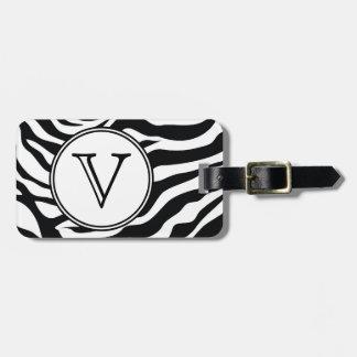 Monogram Black Zebra Stripes Personalized Bag Tag