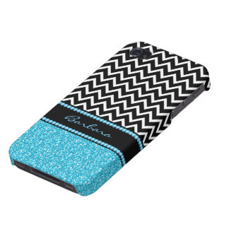 Monogram Black Zigzag Chevron And Blue Glitter iPhone 4/4S Covers