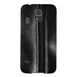 Monogram Black Zip Faux Leather Galaxy S5 Case