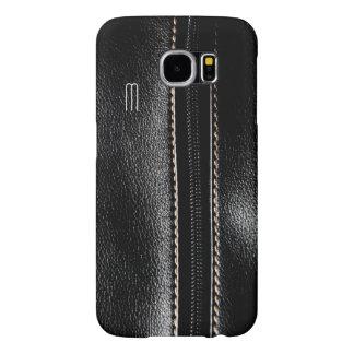 Monogram Black Zip Faux Leather Galaxy S6 Case
