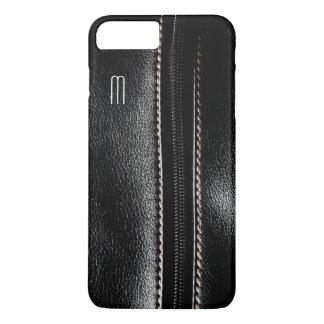 Monogram Black Zip Faux Leather iPhone 7 Case