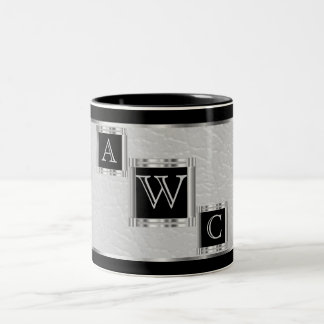 Monogram  Block Black and Silver and Faux Leather Two-Tone Coffee Mug