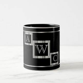 Monogram  Block in Black and Silver Two-Tone Coffee Mug