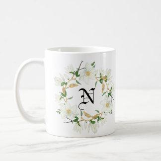 Monogram Blooming Magnolia watercolor Coffee Mug