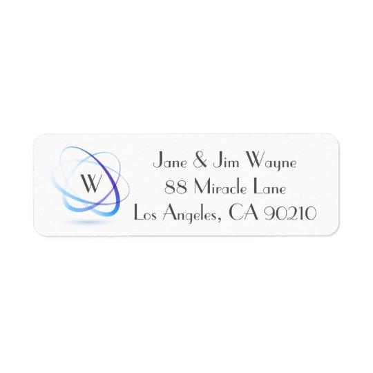 Monogram Blue Abstract Minimal Return Address 1