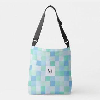 Monogram Blue and Aqua Blue Squares Cross Body Bag
