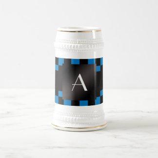 Monogram blue and black checkers mug
