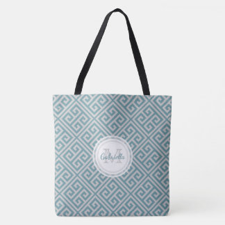 Monogram Blue And Gray Bold Greek Key Motif Tote Bag