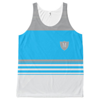 Monogram Blue and grey striped All-Over-Print Tank Top
