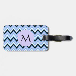 Monogram Blue and Lilac Chevron Pattern Luggage Tag