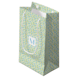 Monogram Blue and Yellow Squares Small Gift Bag