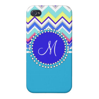 Monogram Blue Aztec Andes Chevron Zig Zags iPhone 4/4S Cover