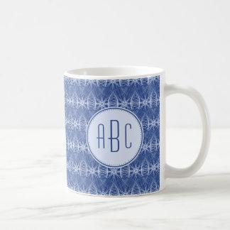 Monogram blue bicycle wheel pattern coffee mug
