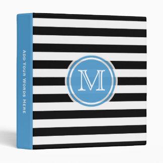 Monogram: Blue, Black And White Striped Binder