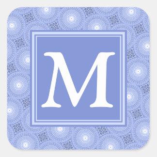 Monogram blue circles pattern square sticker