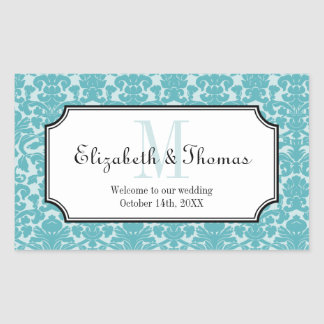 Monogram blue damask frame out of town gift bag