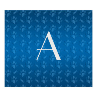 Monogram blue dog paw prints poster