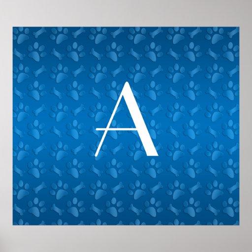 Monogram blue dog paw prints posters
