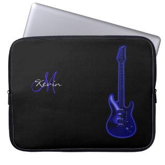 "Monogram Blue Electric Guitar 15"" Laptop Sleeve"