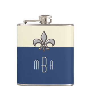 Monogram Blue Faux Metal Fleur de Lis Flasks