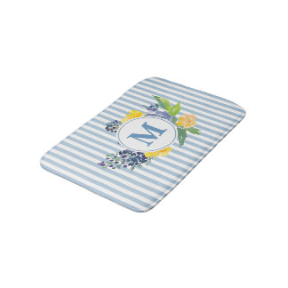 Monogram Blue Flowers Stripe Bath Mat