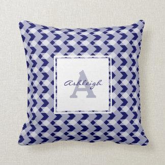Monogram, blue gingham chevron, personalize w name throw pillow