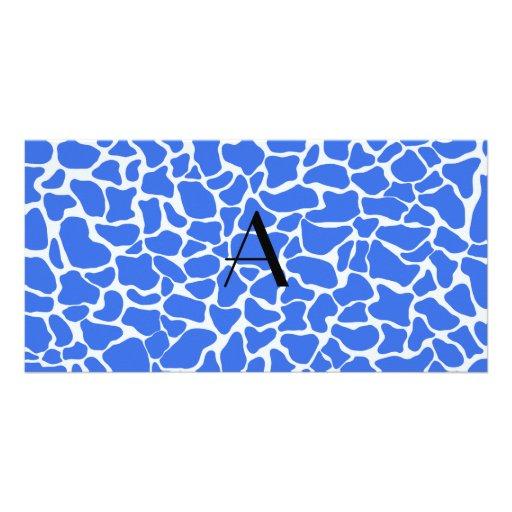 Monogram blue giraffe print photo card