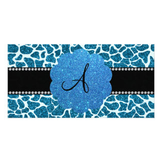 Monogram blue glitter giraffe print picture card