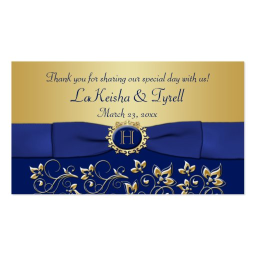 Monogram Blue Gold Floral Favor Thank You Tag Business Card