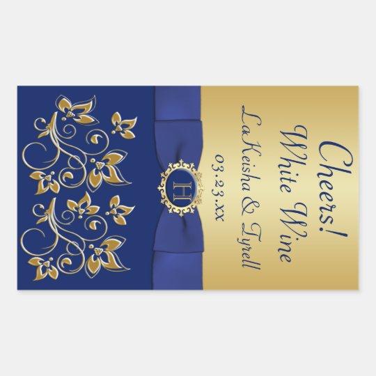 Monogram Blue, Gold Floral Wine Label Sticker