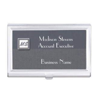 Monogram Blue, Gray Pattern Business Card Holder