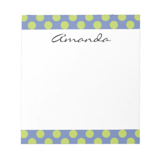 Monogram Blue Green Cute Chic Polka Dot Pattern Notepad