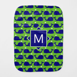 Monogram | Blue & Green Whales Burp Cloth
