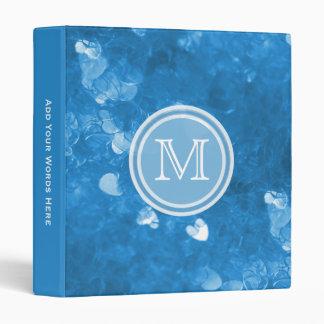 Monogram: Blue Heart Confetti Binder