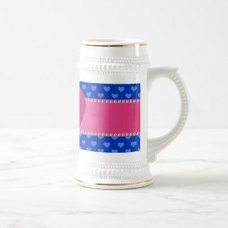 Monogram blue hearts coffee mugs