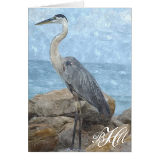 Monogram Blue Heron Thank You Note Card